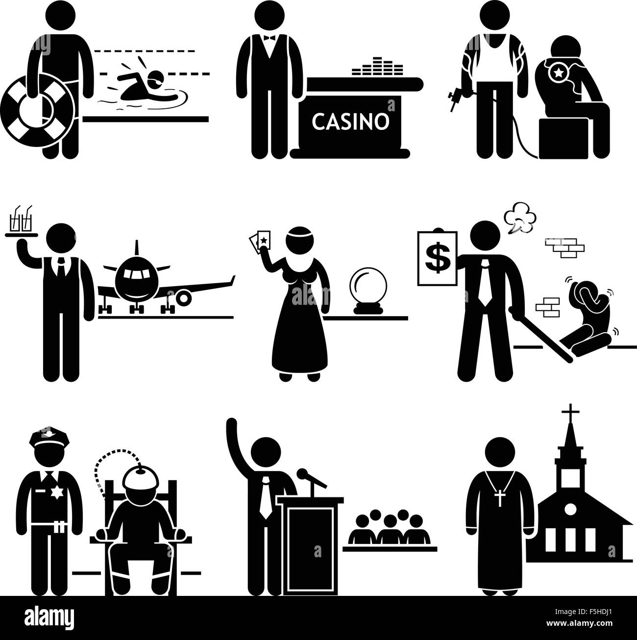 Special Jobs Occupations Careers - Swimming Lifeguard, Casino Dealer, Tattoo Artist, Air Steward, Fortune Teller, - Stock Image