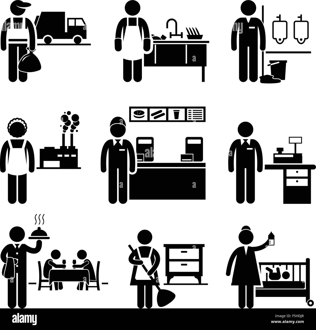 Low Income Jobs Occupations Careers - Garbage Man, Dishwasher, Janitor, Factory Worker, Fast Food Server, Cashier, - Stock Image