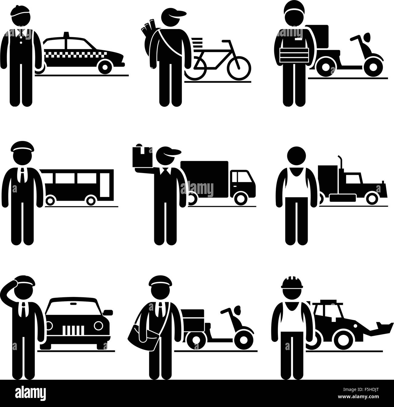 Driver Delivery Jobs Occupations Careers - Taxi, Newspaper, Pizza, Bus, Mover, Truck, Chauffeur, Postman, Construction - Stock Image