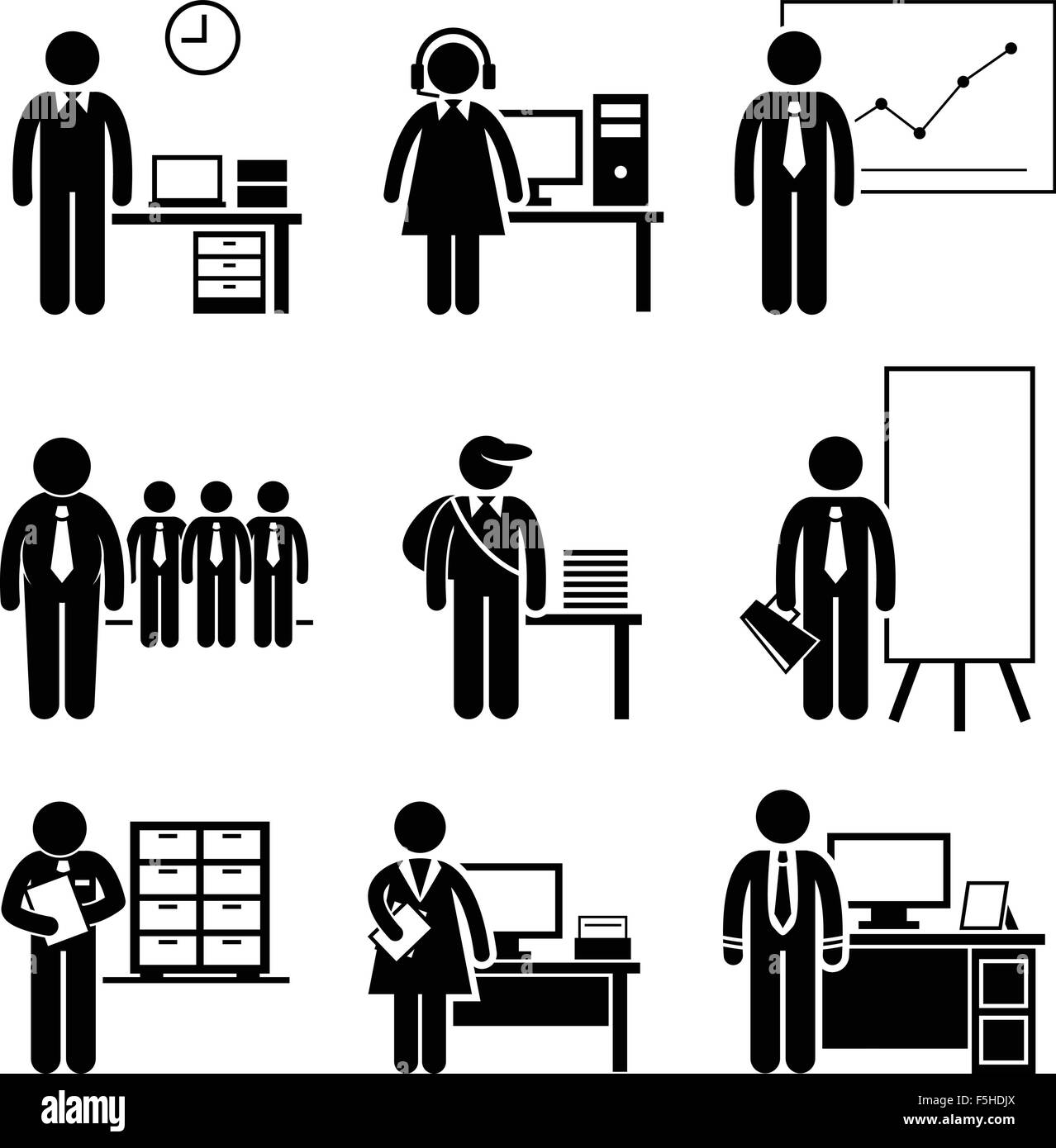 Office Jobs Occupations Careers - Staff Employee, Help Desk Support, Analyst, Runner, Manager, Marketing, Auditor, - Stock Image