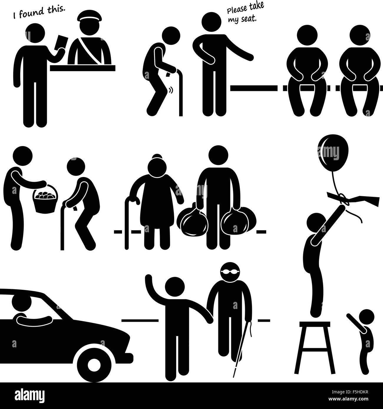 Kind Good Hearted Man Helping People Stick Figure Pictogram Icon - Stock Image