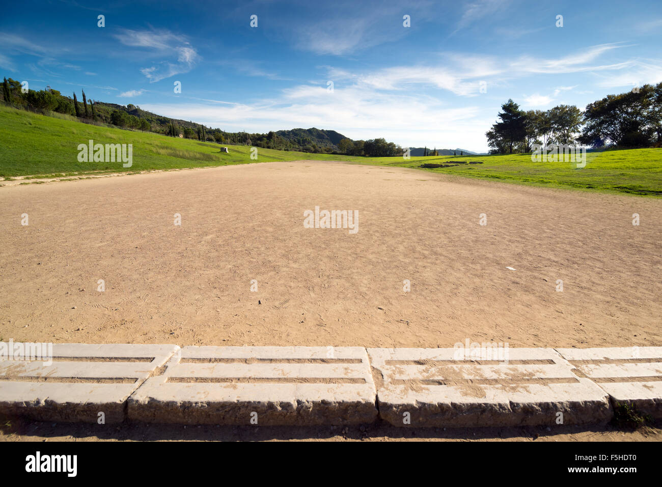 Ancient classic greek olympic stadium at Olympia in Greece - Stock Image