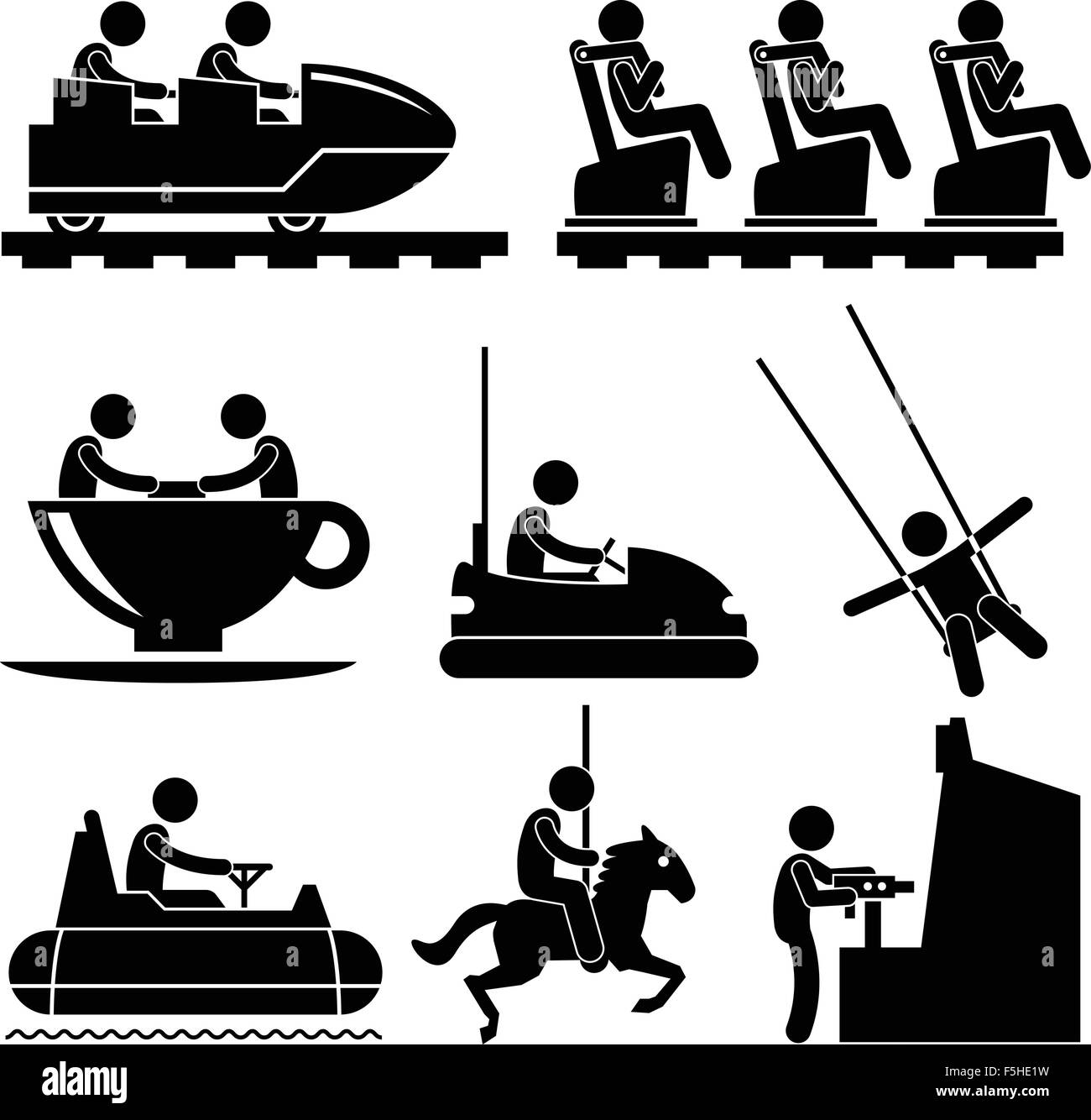 Amusement Theme Park Playing Stick Figure Pictogram Icon - Stock Vector
