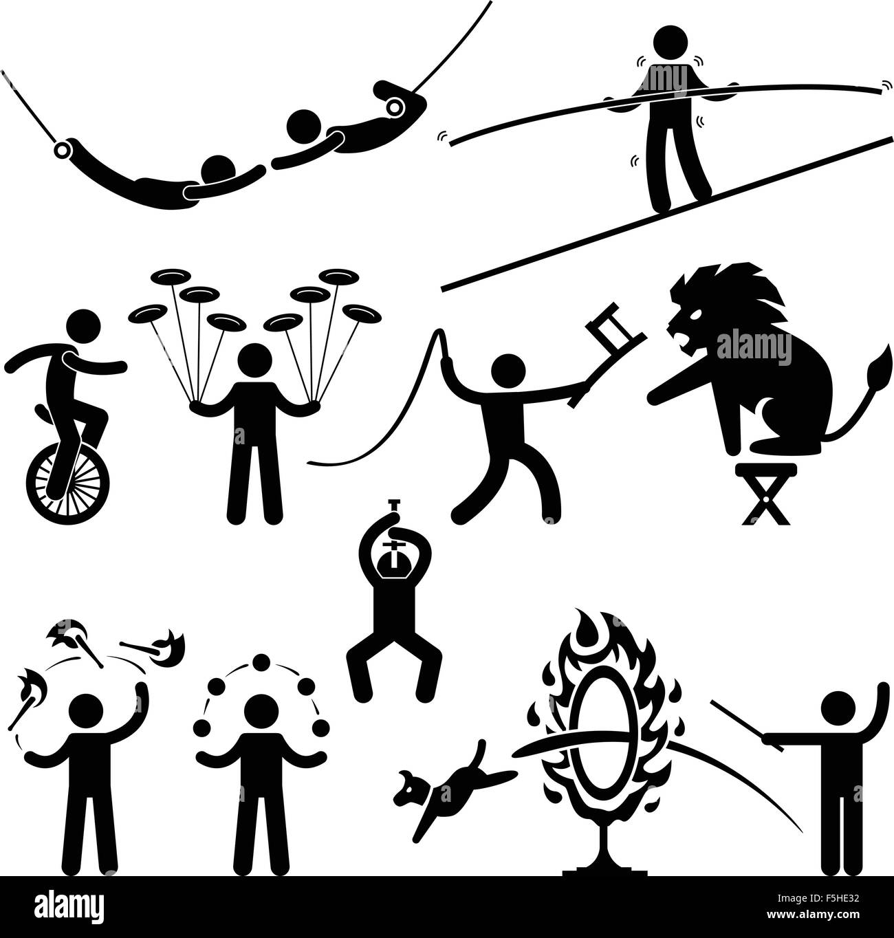 Circus Performers Acrobat Stunt Animal Man Stick Figure Pictogram Icon - Stock Image