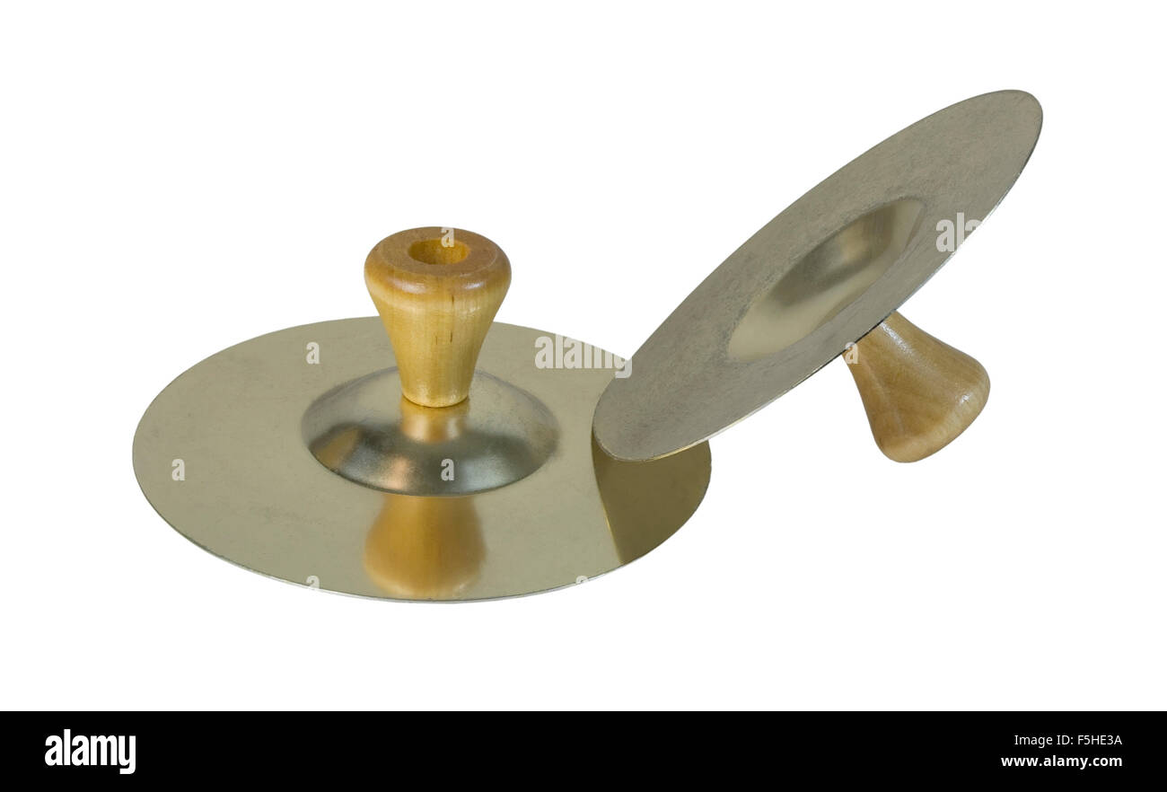 Cymbals that are clanged together to make music - path included - Stock Image