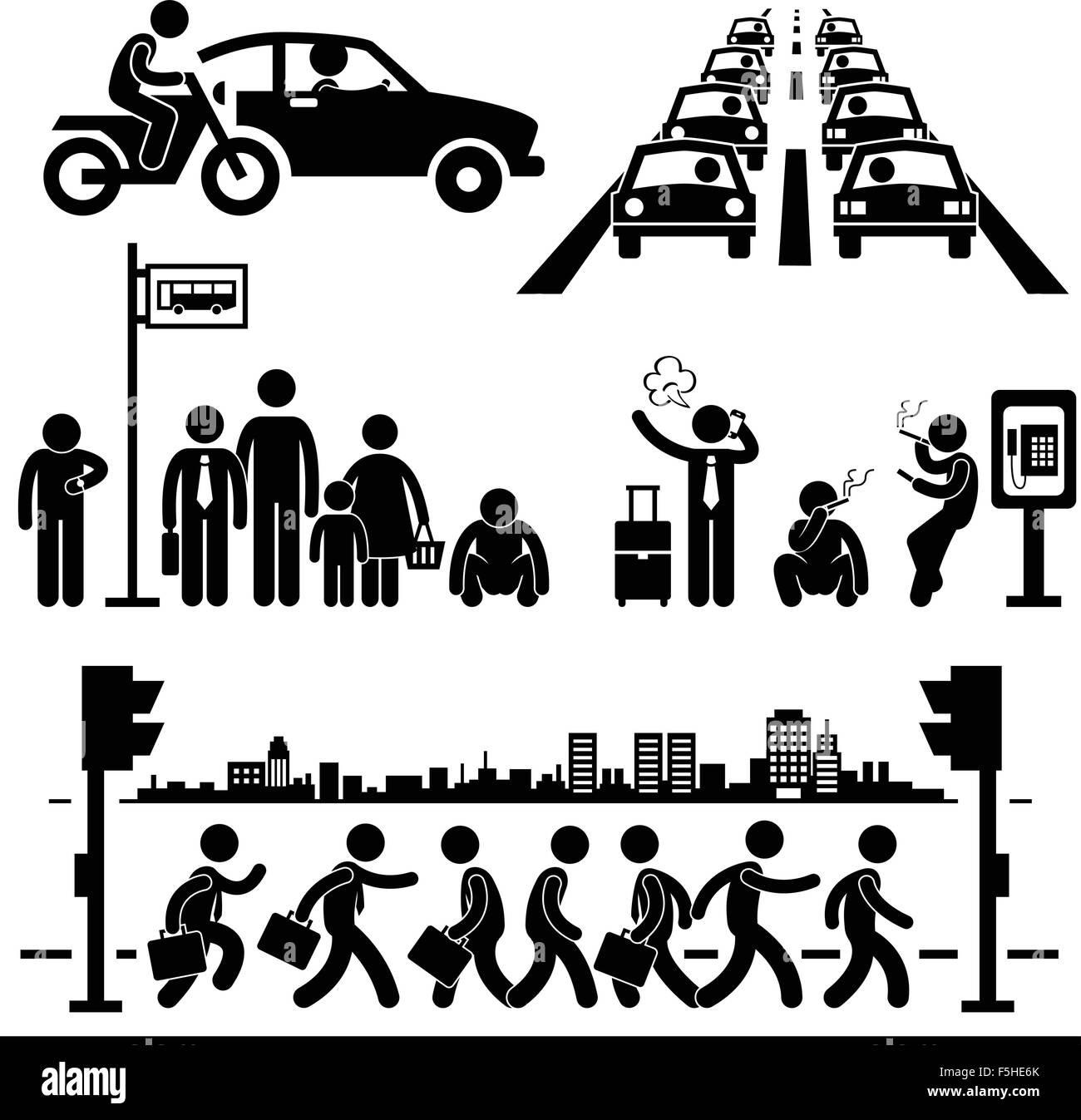 Urban City Life Metropolitan Hectic Street Traffic Busy Rush Hour Man Stick Figure Pictogram Icon - Stock Vector
