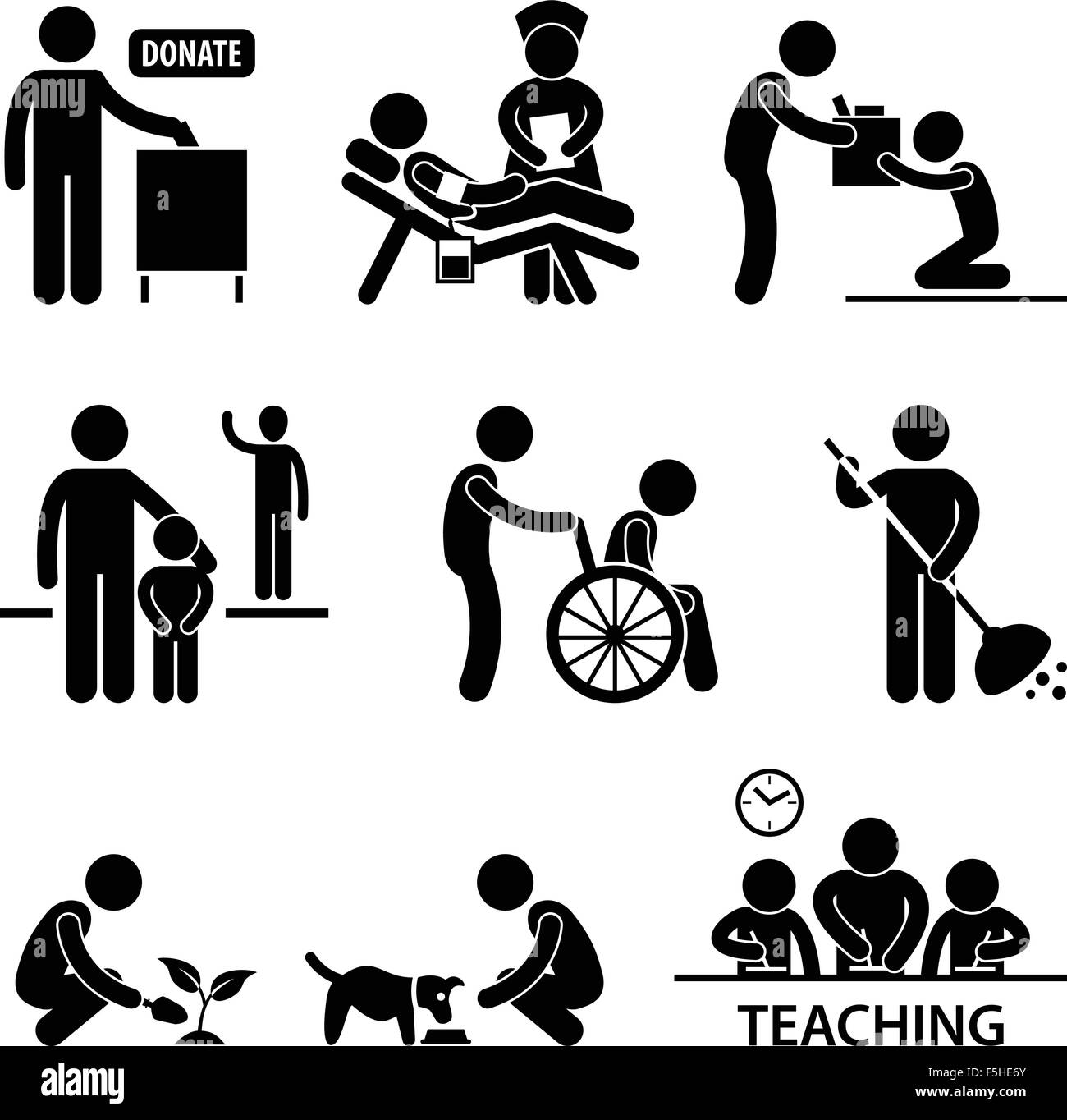Charity Donation Volunteer Helping Stick Figure Pictogram Icon - Stock Image