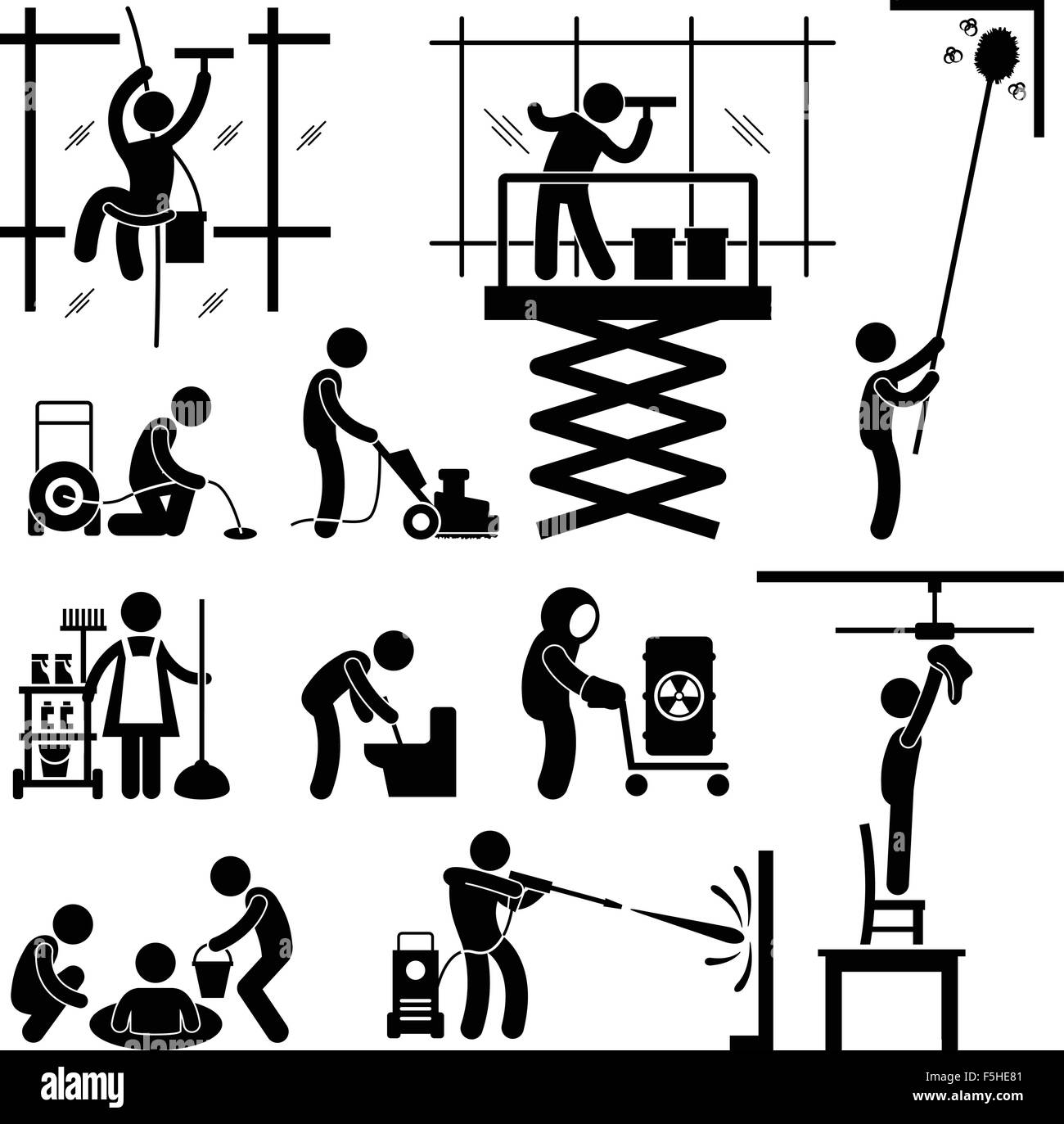 Industrial Cleaning Services Risky Cleaner Job Working Stick Figure Pictogram Icon - Stock Vector