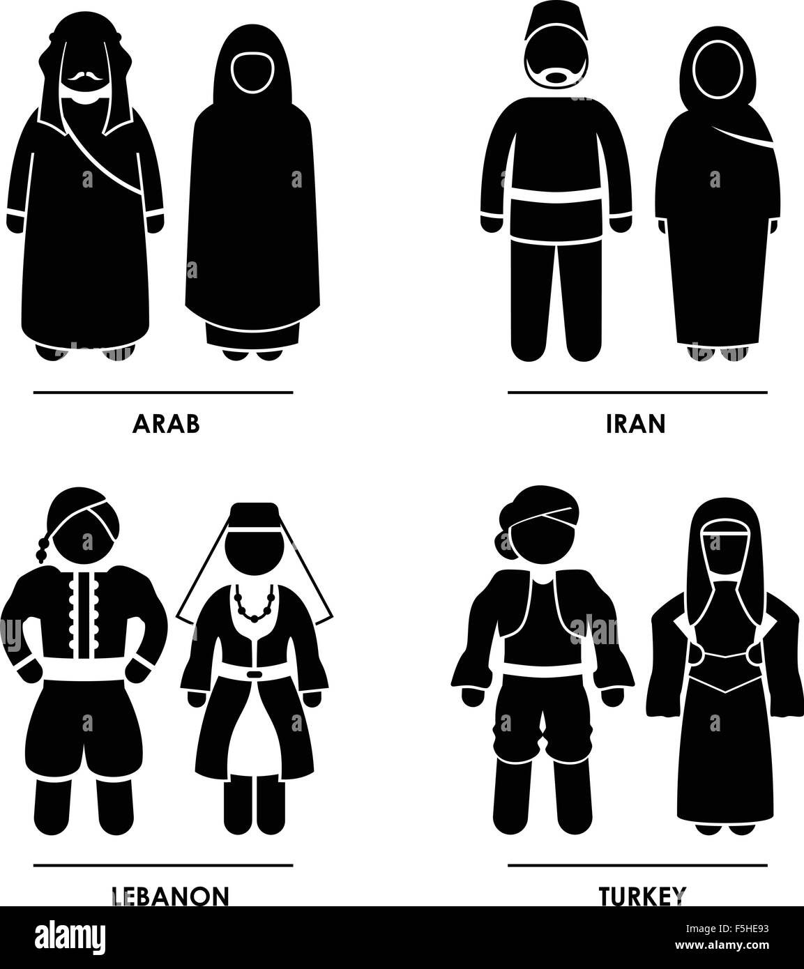 West Asia - Arab Iran Lebanon Turkey Man Woman National Traditional Costume Dress Clothing Icon Symbol Sign Pictogram Stock Vector