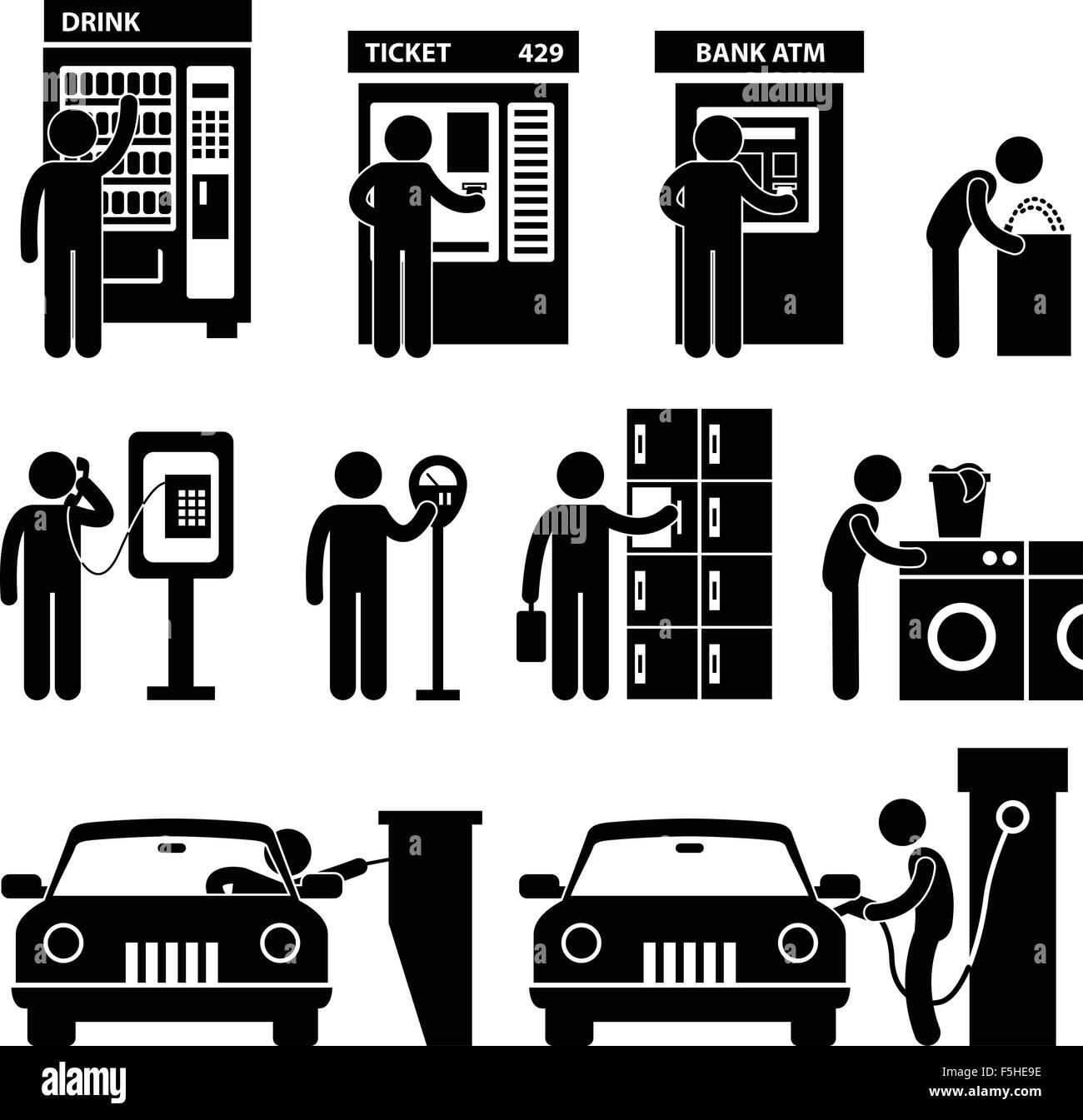 Man using Auto Public Machine Icon Symbol Sign Pictogram - Stock Image