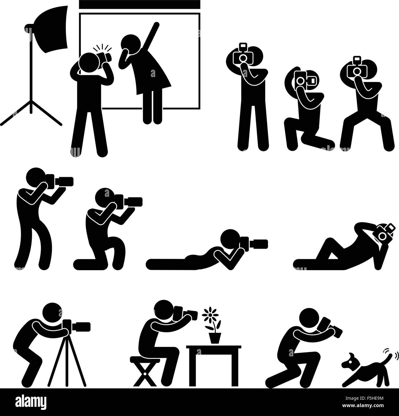 Photographer Cameraman Paparazzi Pose Posing Icon Symbol Sign Pictogram - Stock Image