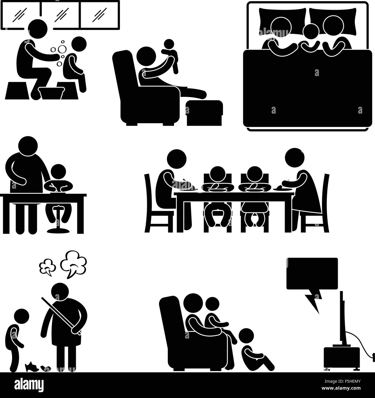 Family Activity House Home Bathing Sleeping Teaching Eating Watching Tv Together Icon Symbol Sign Pictogram - Stock Image