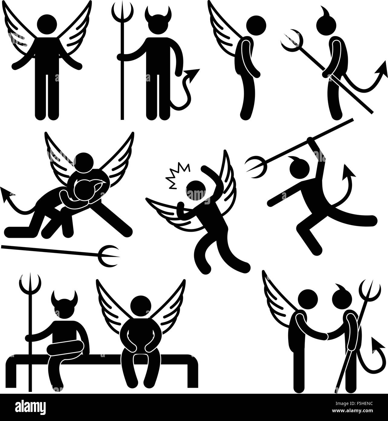Devil Angel Friend Enemy Icon Symbol Sign Pictogram - Stock Image