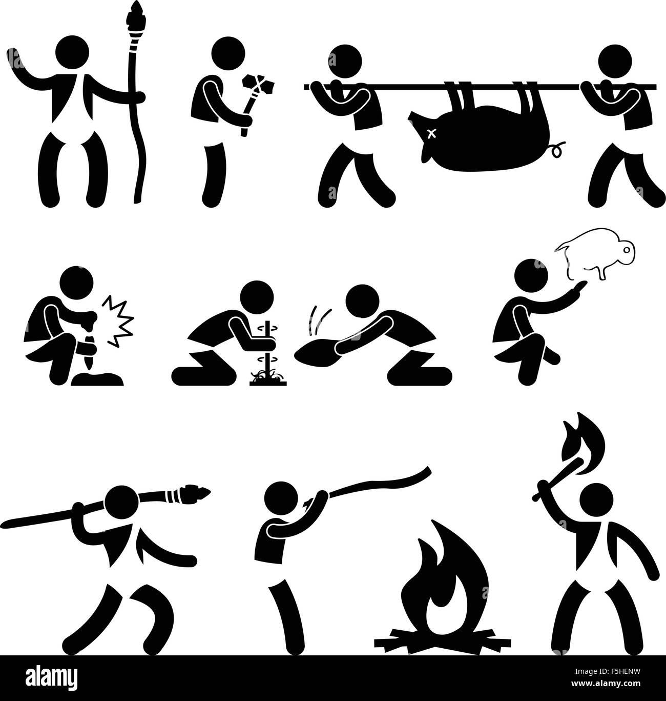 Primitive Ancient Prehistoric Caveman Man Human using Tool and Equipment Icon Symbol Sign Pictogram - Stock Image