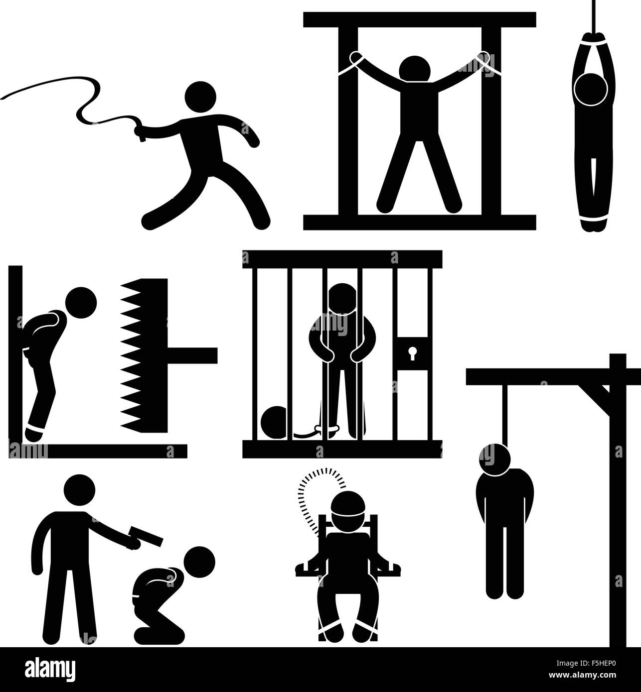 Punishment Torture Justice Death Sentence Execution Icon Symbol Sign Pictogram - Stock Vector