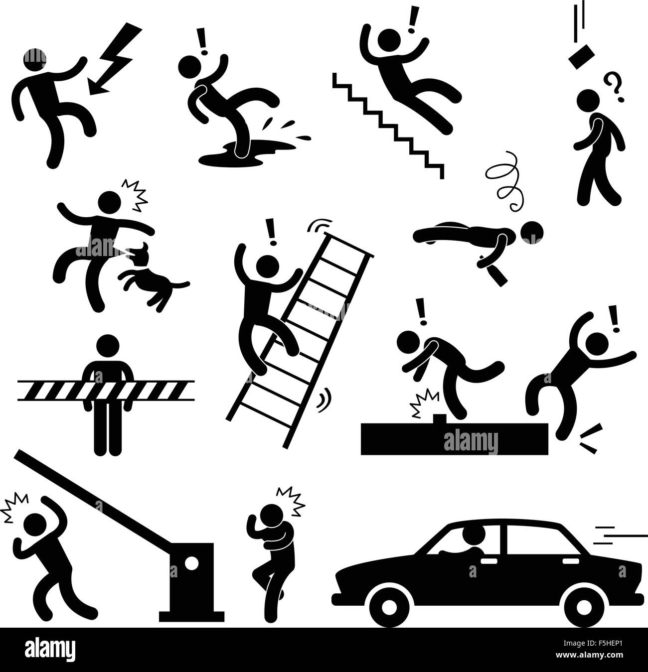 Caution Safety Danger Electricity Shock Slippery Fall Car Accident Icon Sign Symbol Pictogram - Stock Image