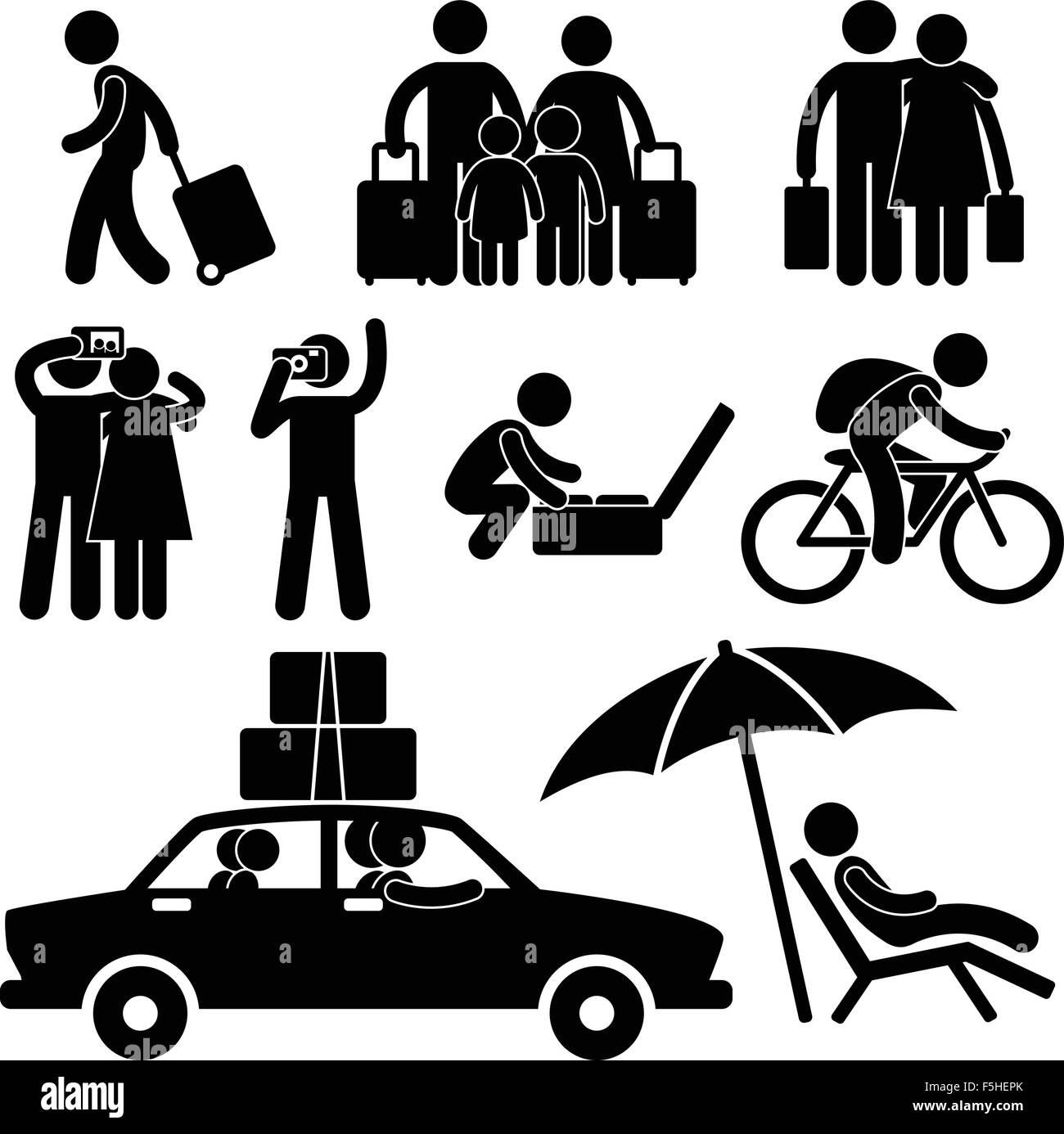 Family Couple Tourist Travel Vacation Trip Holiday Honeymoon Icon Symbol Signs Pictogram