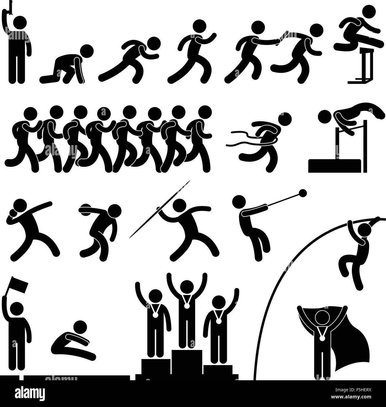 Sport Field and Track Game Athletic Event Winner Celebration Icon Symbol Signs - Stock Vector