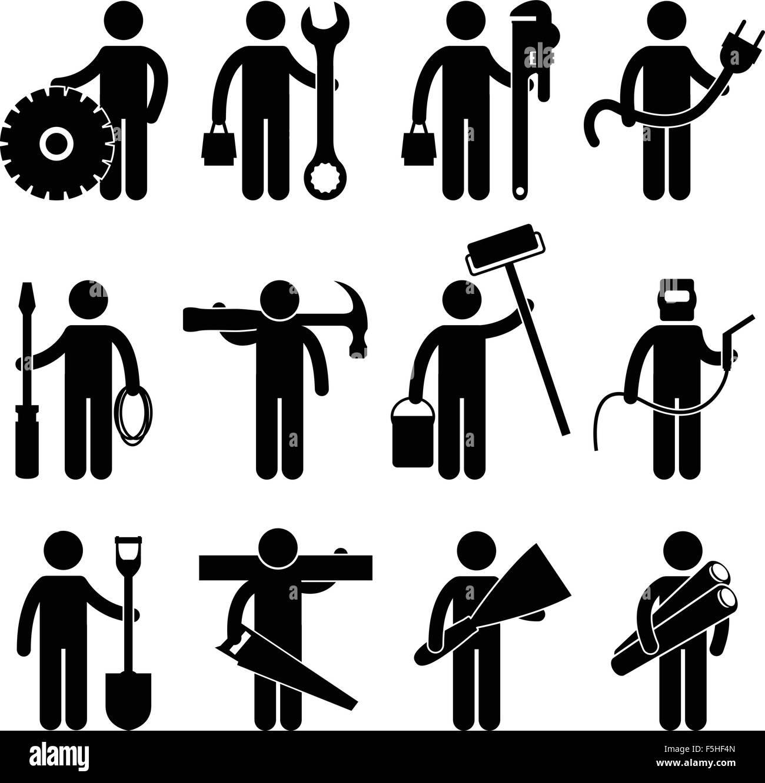 construction worker job icon pictogram sign symbol stock vector art