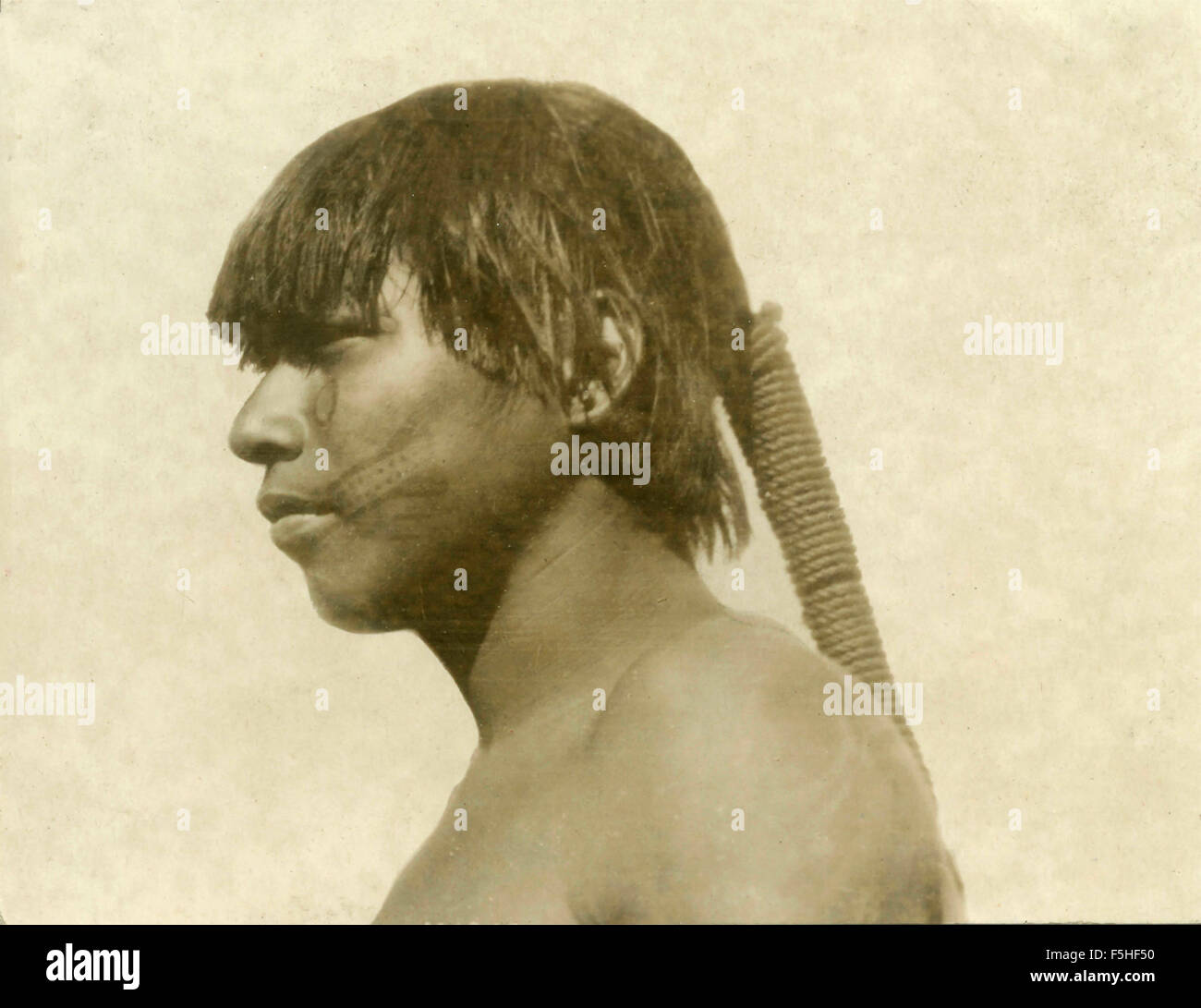 Warrior of the tribe of Carajas, Brazil - Stock Image