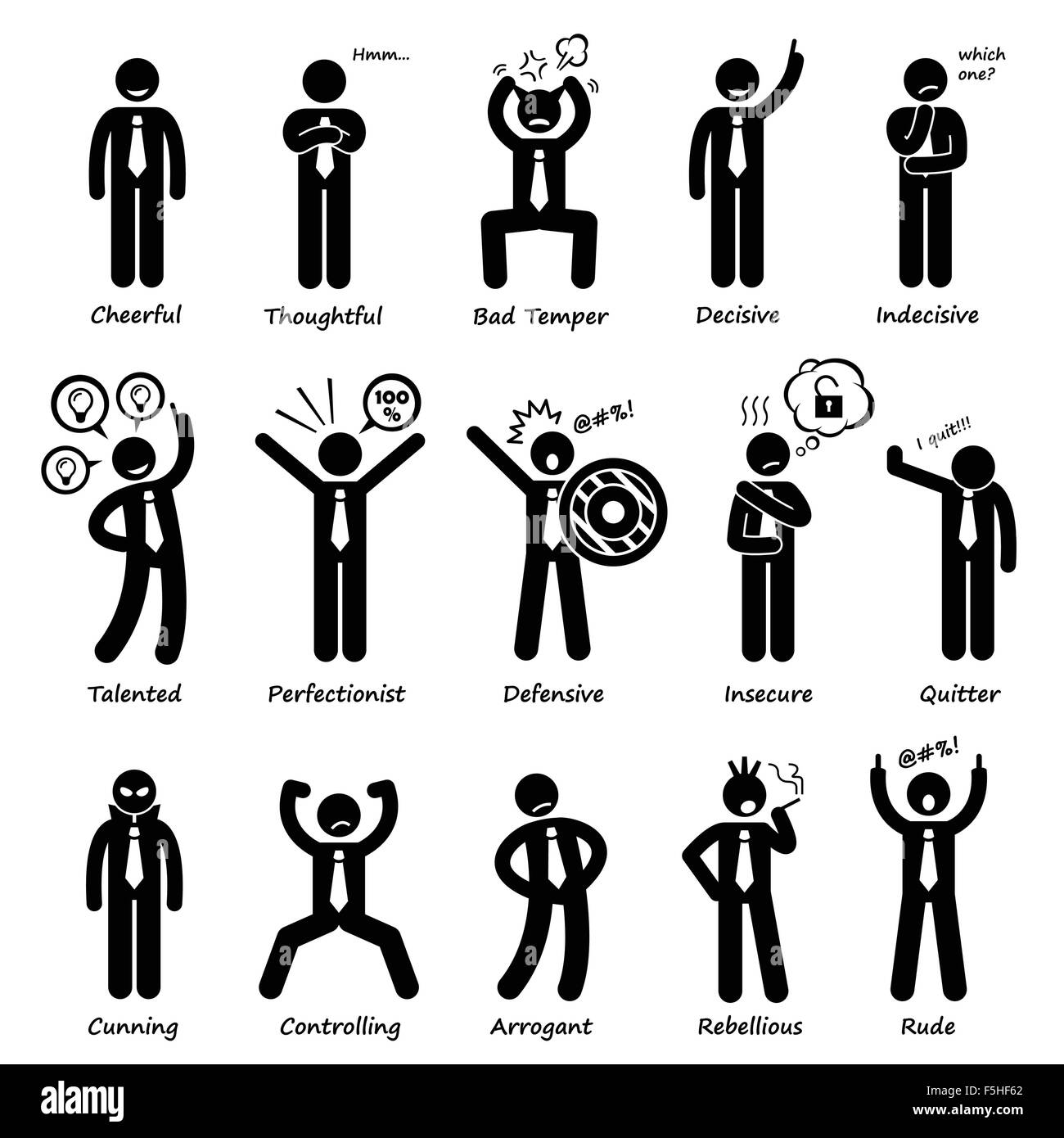 Businessman Attitude Personalities Characters Stick Figure Pictogram Icons - Stock Image