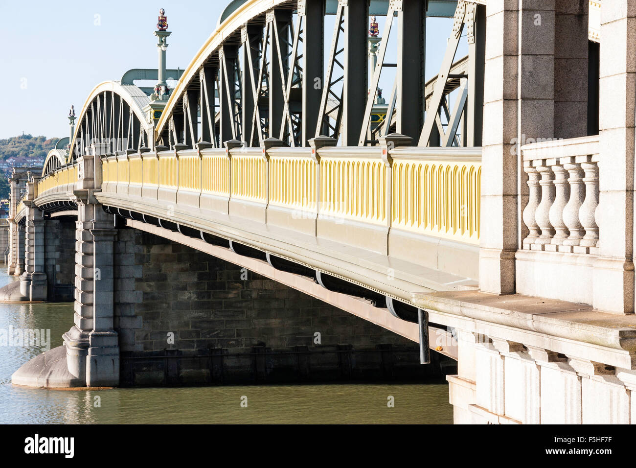England, Rochester Bridge. 1856 Victorian cast-iron bridge over the river Medway, view along side structure, showing Stock Photo
