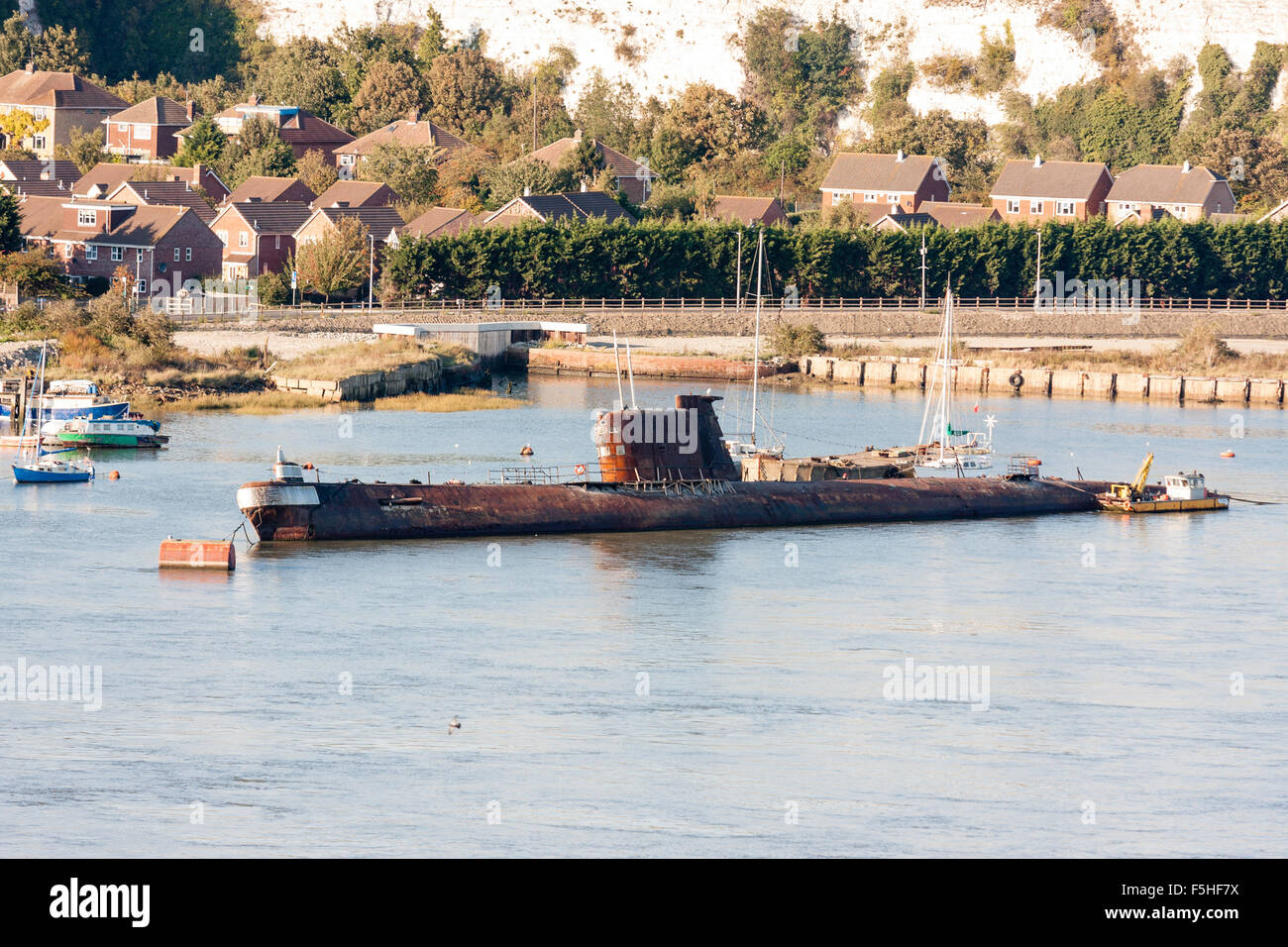 Rochester. Rusting Russian submarine, U-475 Black Widow, a Soviet Project 641 class, or NATO name, Foxtrot, moored - Stock Image