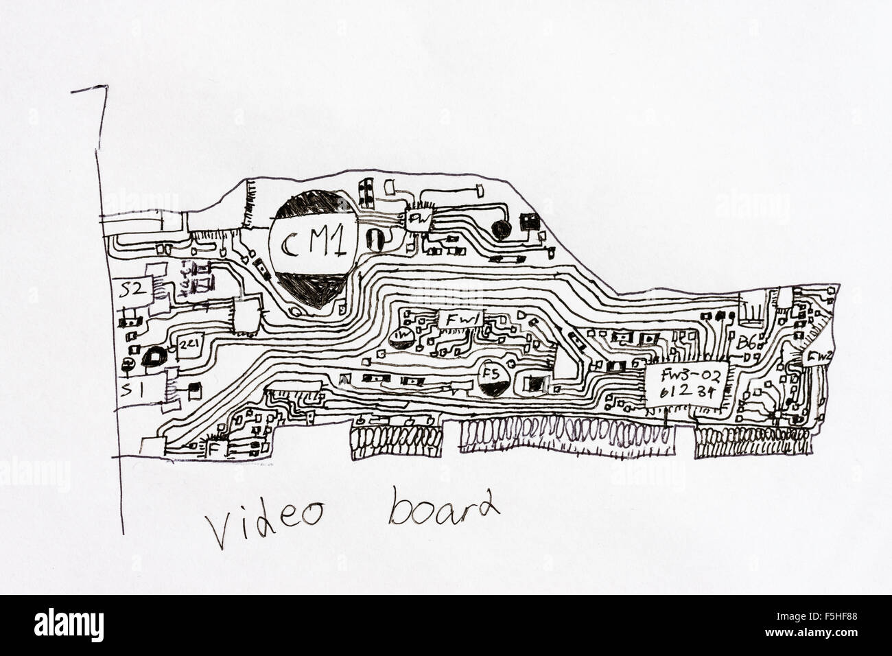 Computer graphics card. A Child's ink drawing of a graphics card from a computer, showing back connection plate, - Stock Image