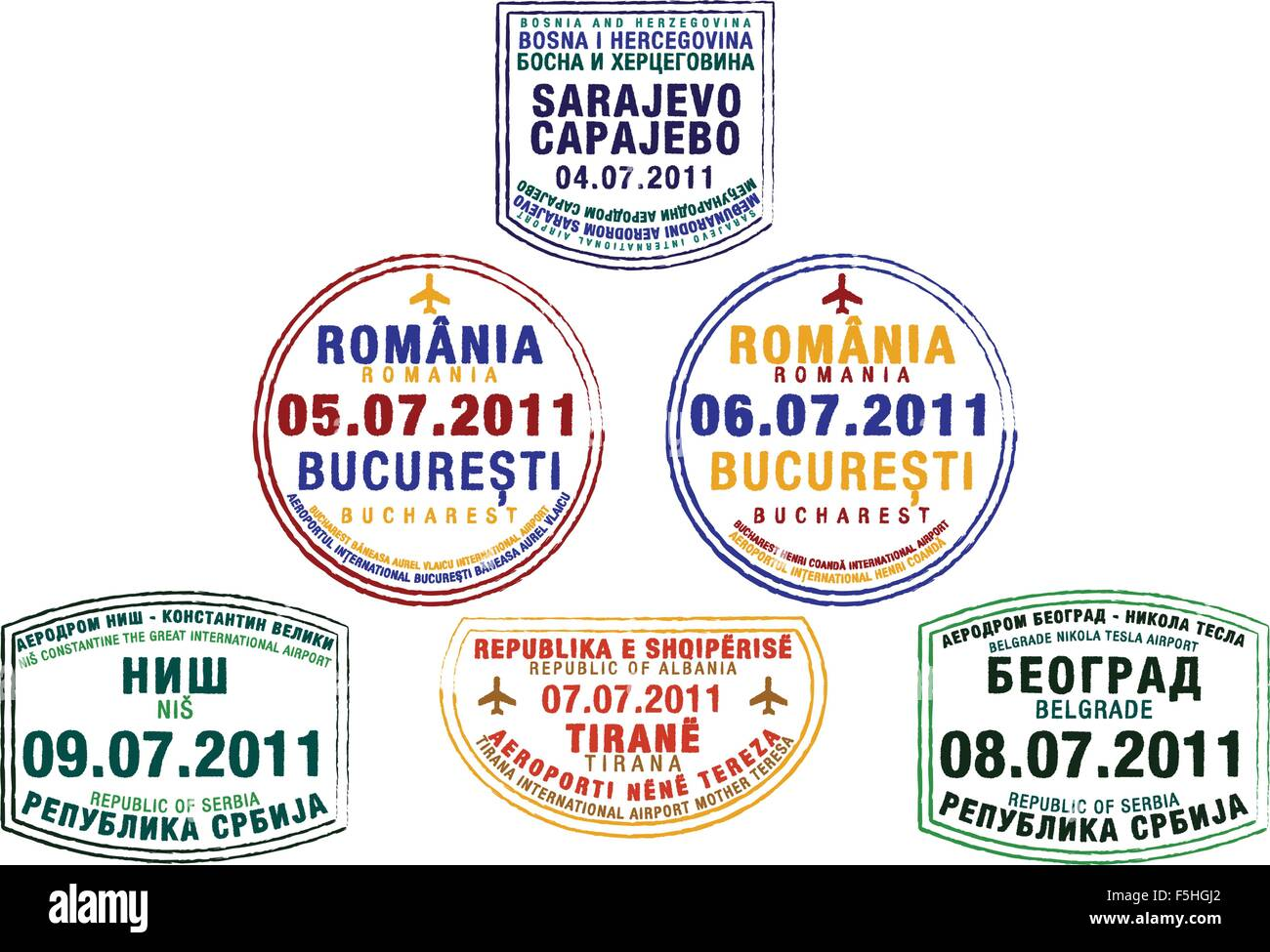 Passport stamps from Bosnia and Herzegovina, Romania, Serbia and Albania in vector format. - Stock Vector