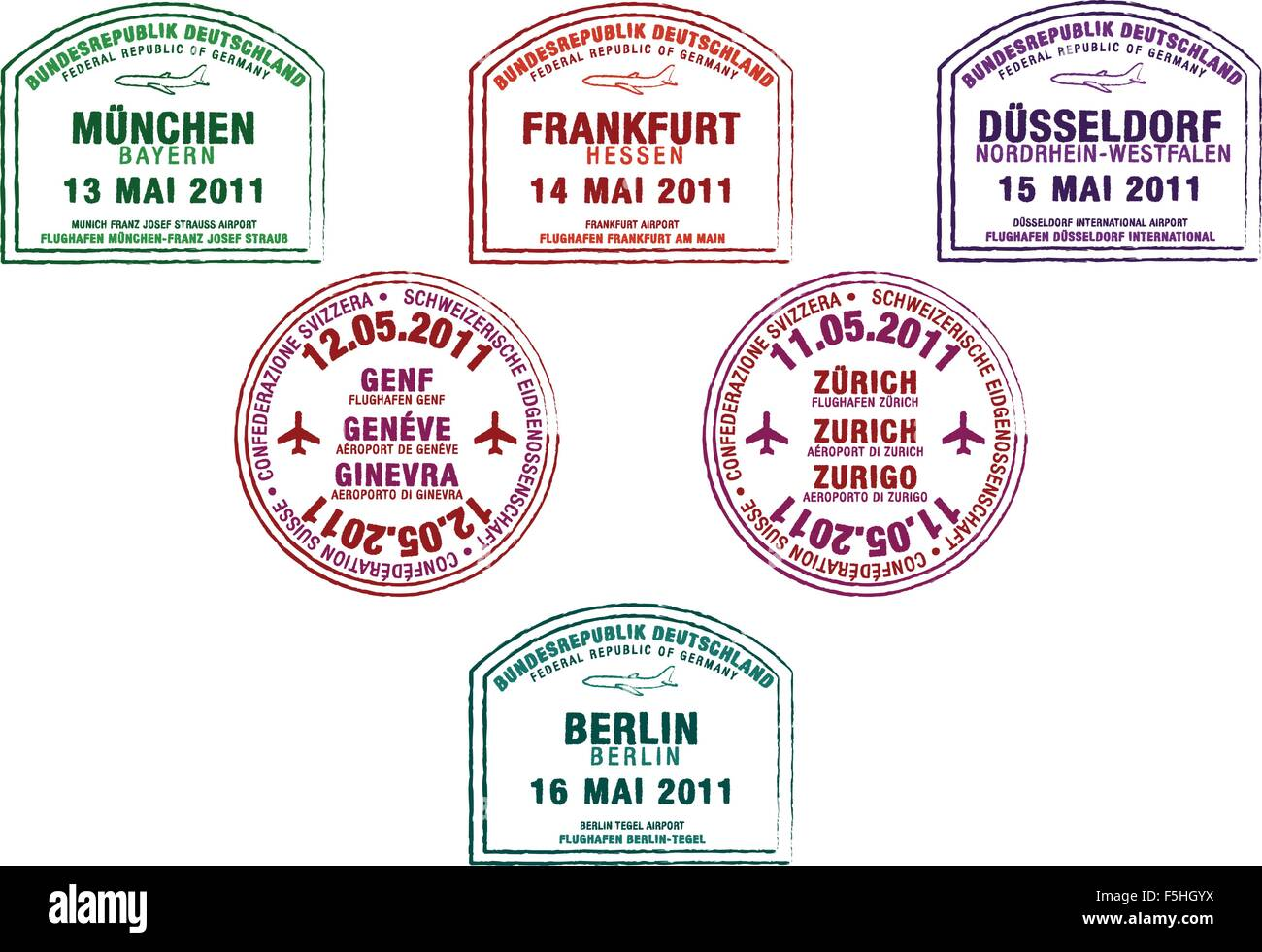 Passport stamps from Germany and Switzerland in vector format. - Stock Vector