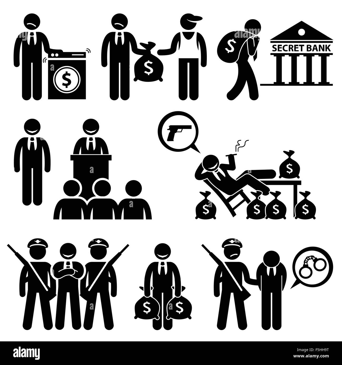 Dirty Money Laundering Illegal Activity Politic Crime Stick Figure Pictogram Icons - Stock Image