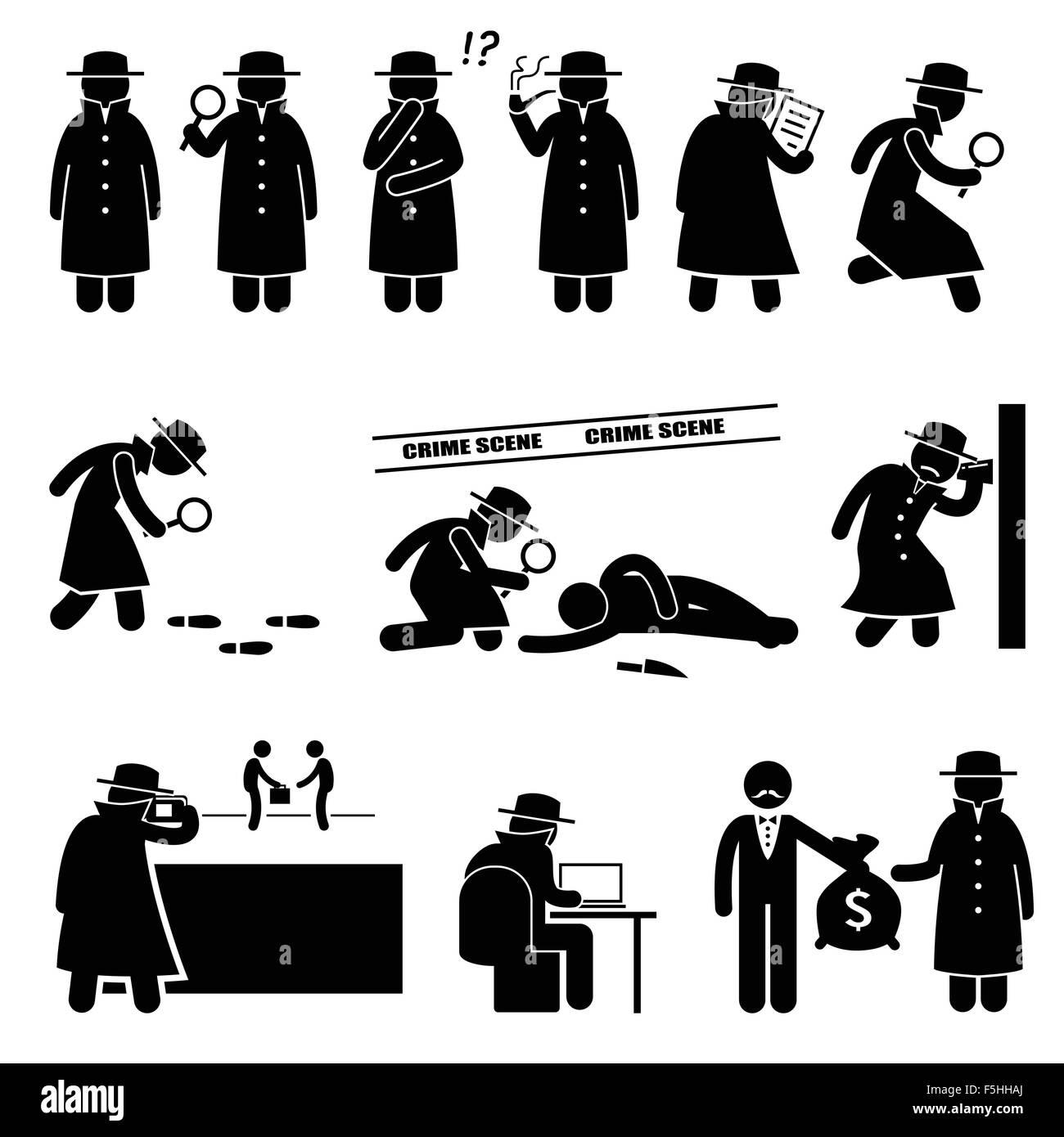 Detective Spy Private Investigator Stick Figure Pictogram Icons - Stock Image