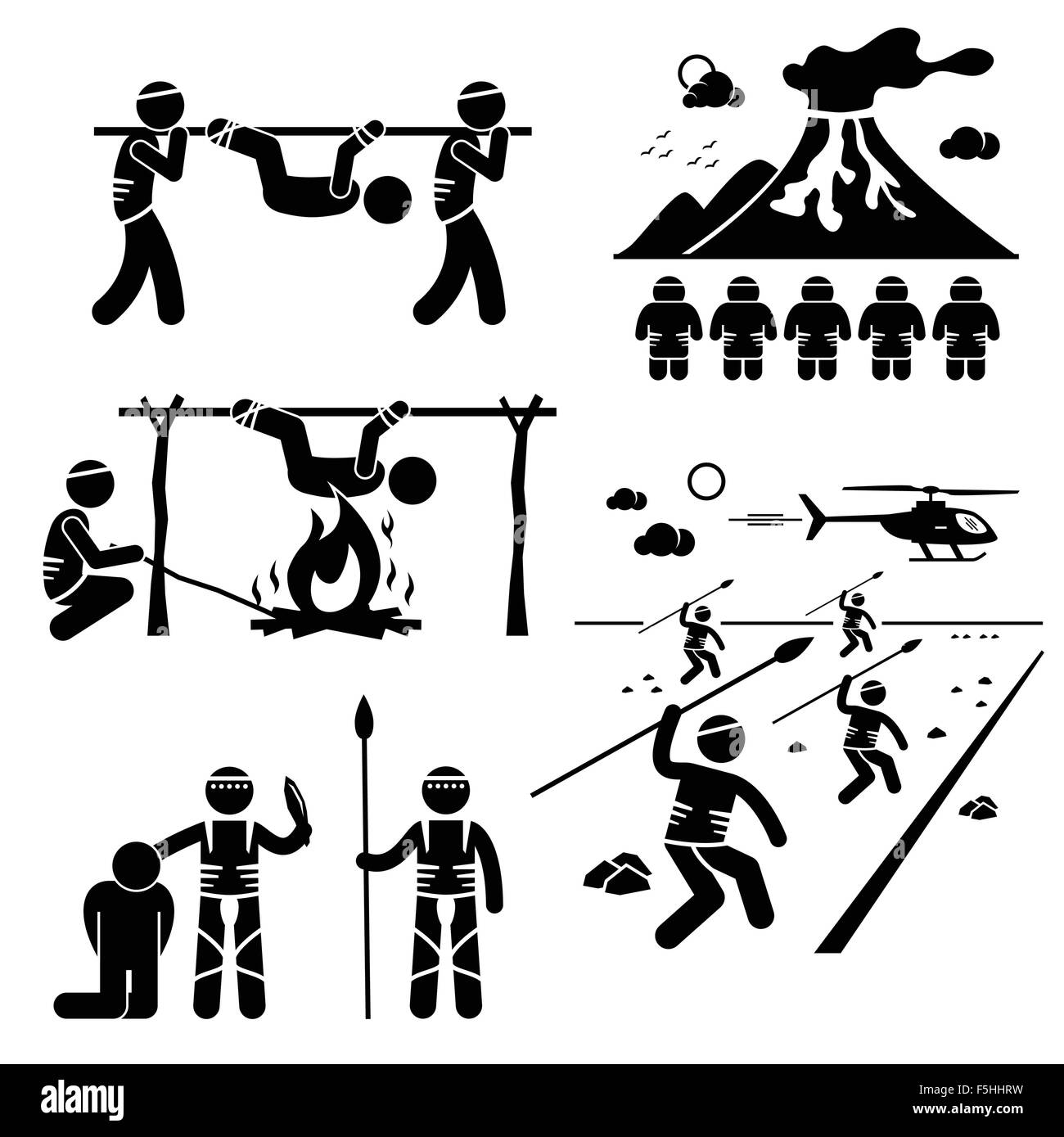 Lost Civilization Cannibal Man Eating Tribe Stick Figure Pictogram Icons - Stock Image