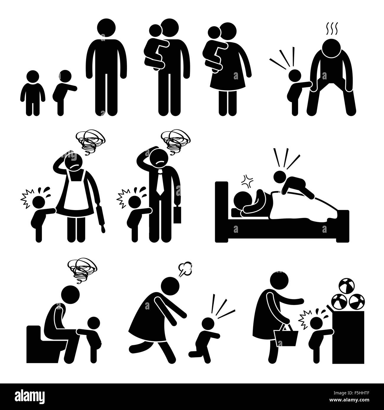 Bad Temper Toddler Baby Tantrum with Mother and Father Stick Figure Pictogram Icons - Stock Image