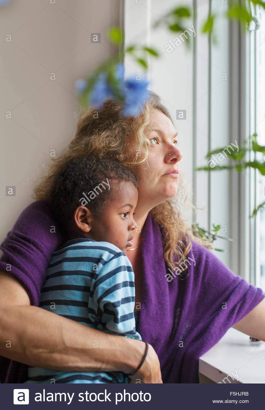 Denmark, Copenhagen, Fredriksberg, Mother and son (4-5) looking through window - Stock Image