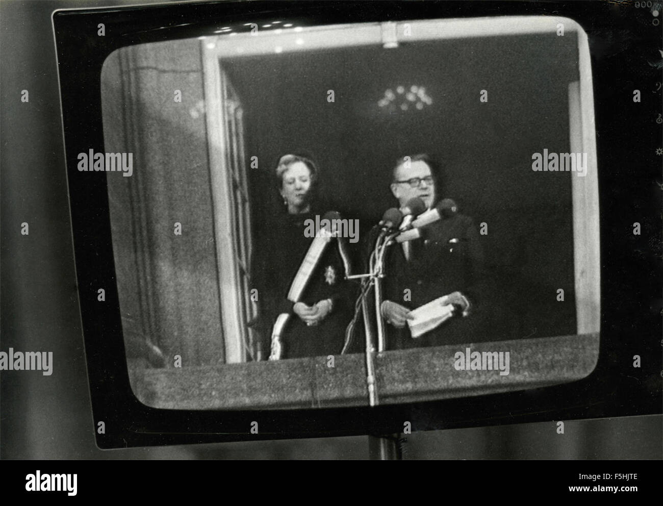 The royals of Denmark in TV - Stock Image