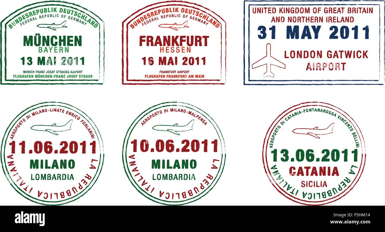 Passport stamps from Germany, London and Italy in vector format. - Stock Vector