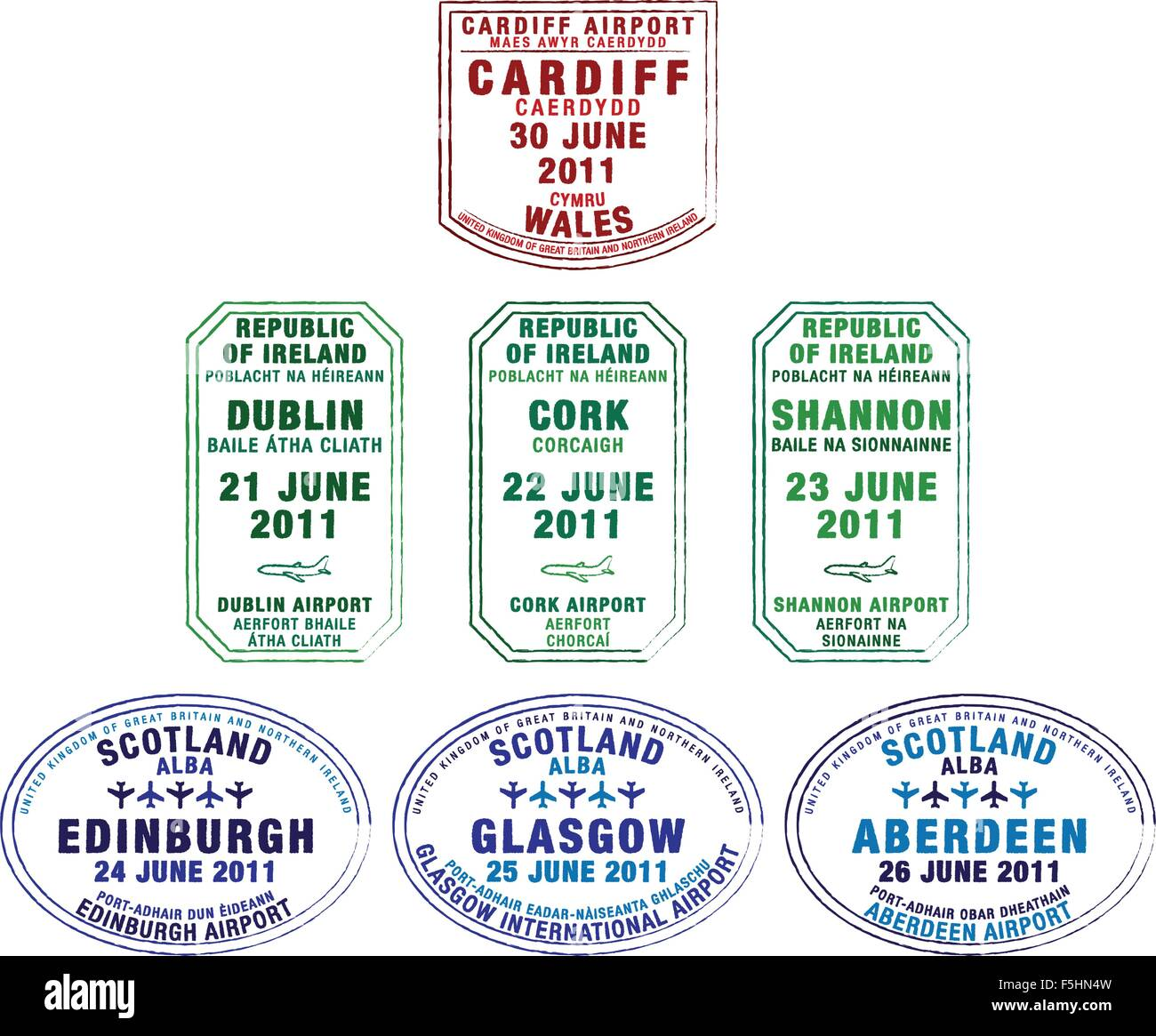 Passport stamps of Wales, Republic of Ireland and Scotland in vector format. - Stock Vector
