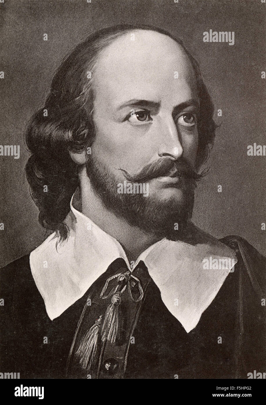Portrait of the poet and playwright William Shakespeare English - Stock Image