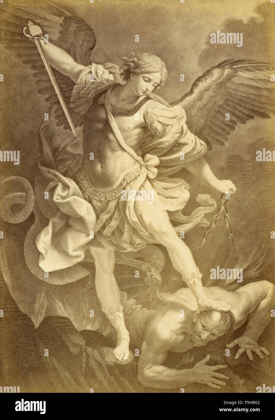 St. Michael the Archangel, painting by Guido Reni, Italian - Stock Image