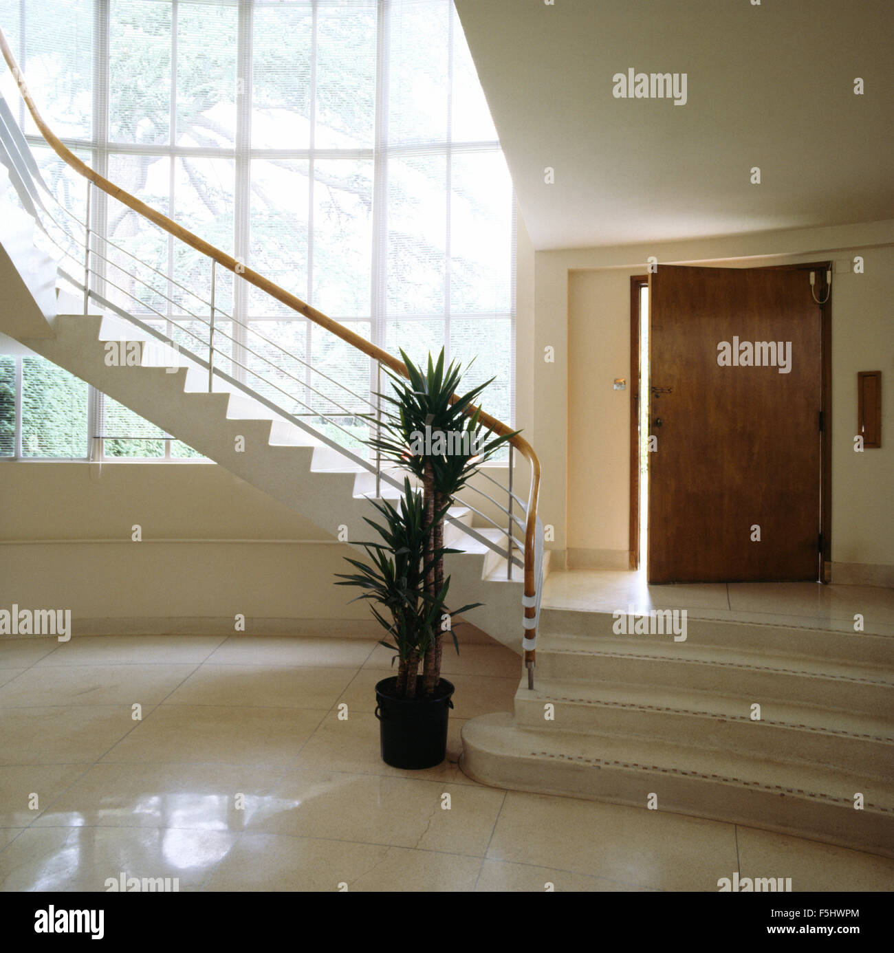 Marble Floor Tiles In Large Hall In Art Deco House Stock Photo - Large marble bathroom tiles