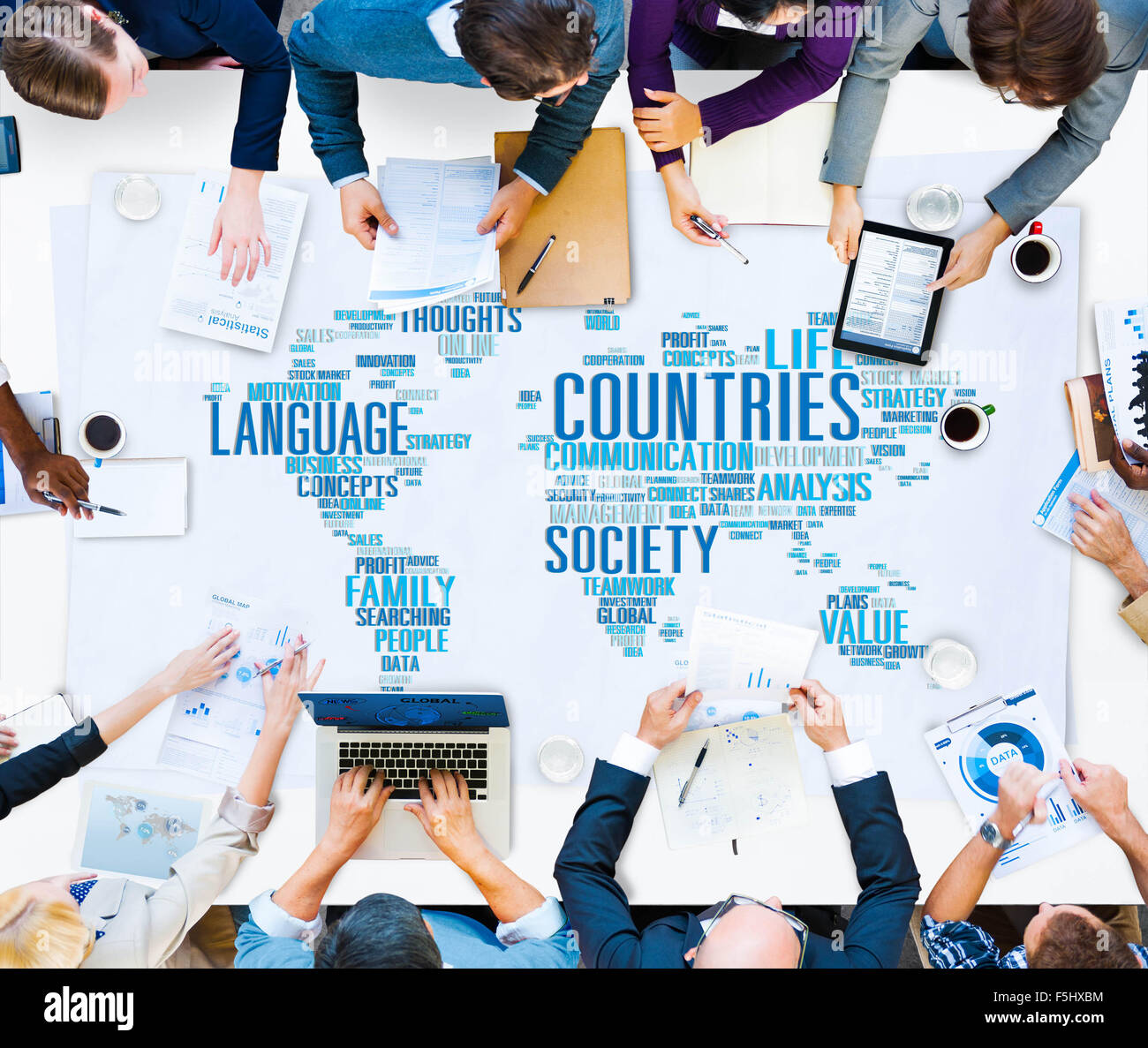 Digital world map countries stock photos digital world map business people meeting countries world map concept stock image gumiabroncs Choice Image