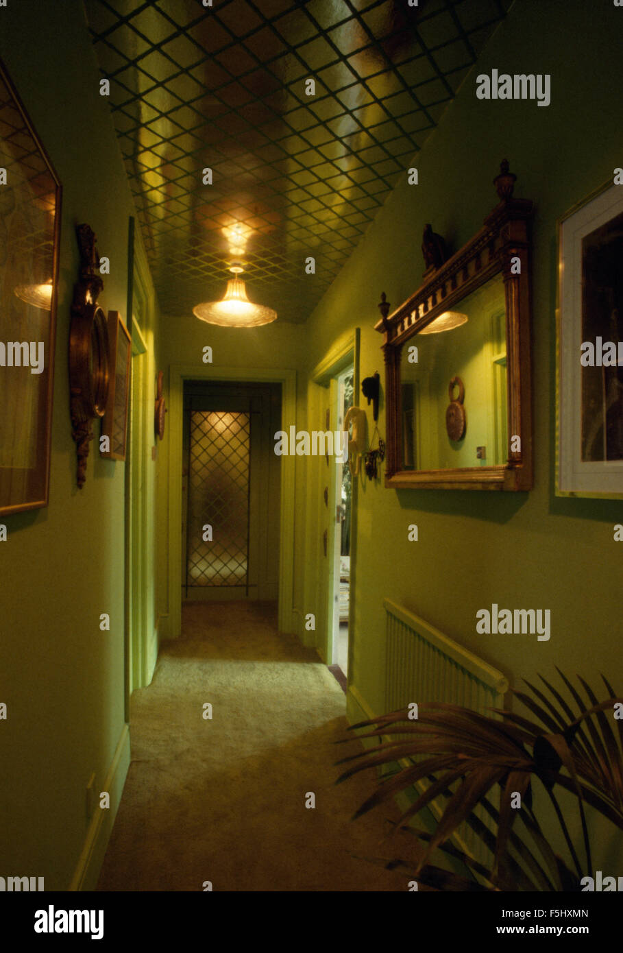 Pale green sixties hall with ceiling light and a shag pile carpet - Stock Image