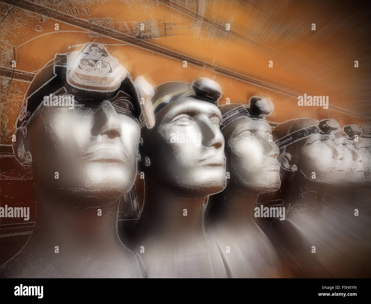 Dummies wearing headlamps, on display in an outdoor shop. Digital art and illustration. - Stock Image