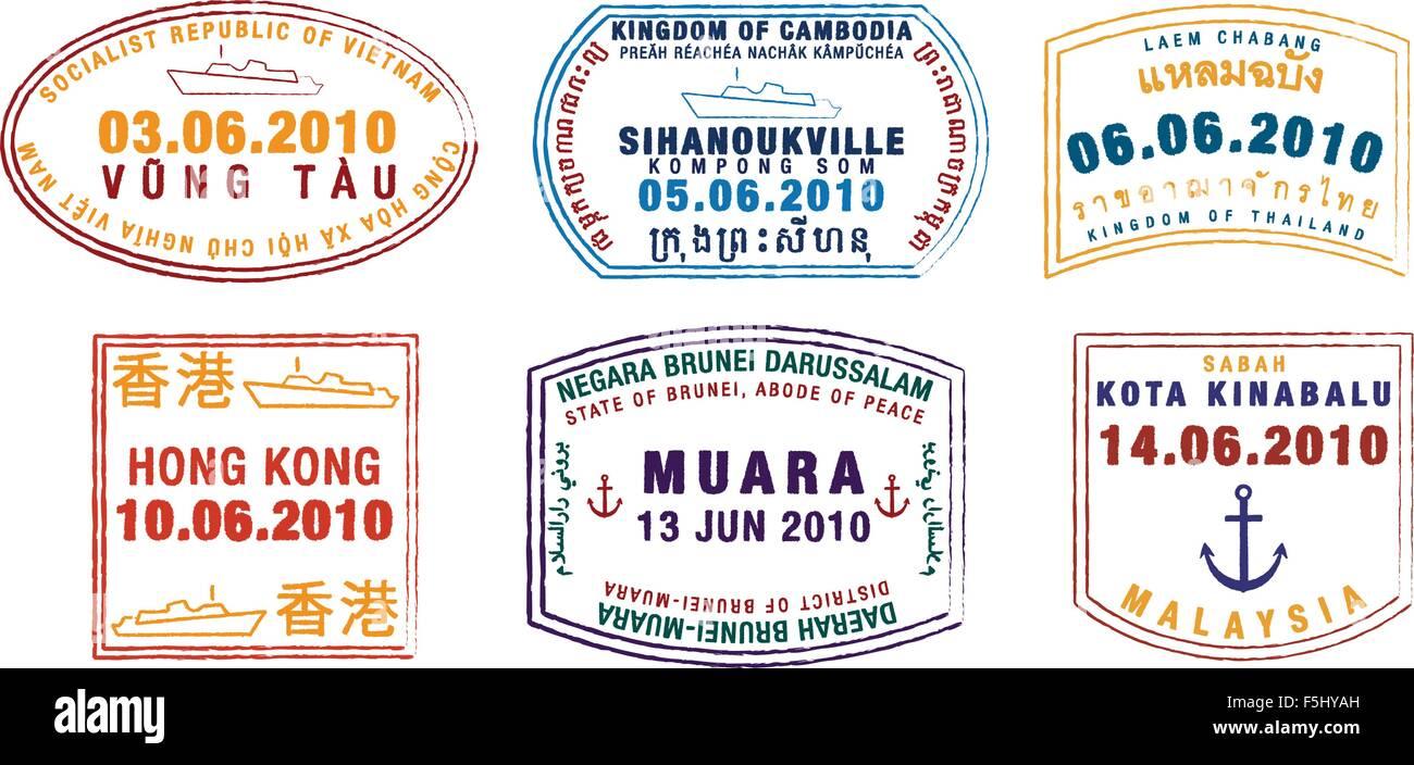 Asian passport stamps in vector format. - Stock Vector