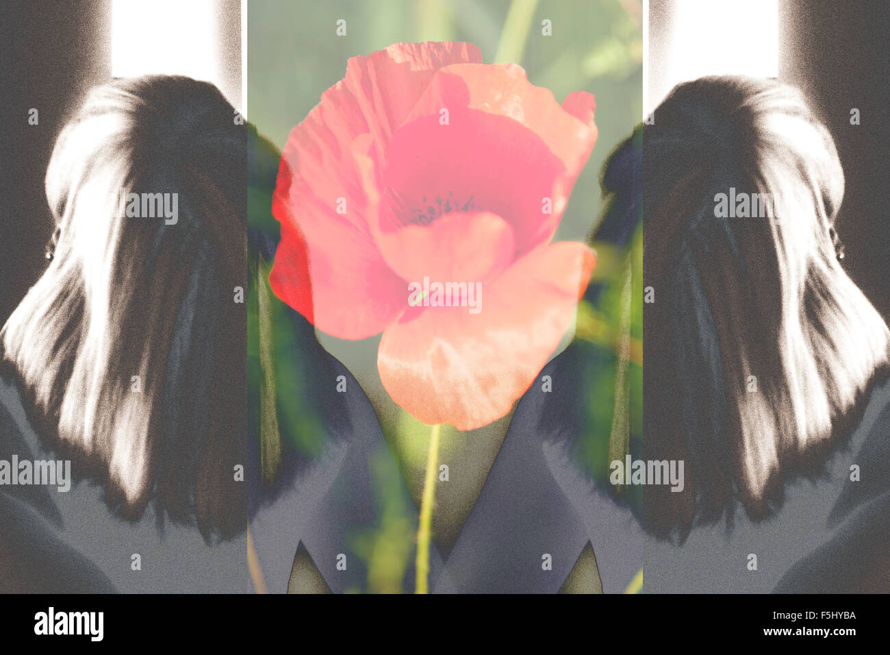 Textured double portrait of a woman viewed from the back with a red poppy in the middle. Digital art and illustration. - Stock Image