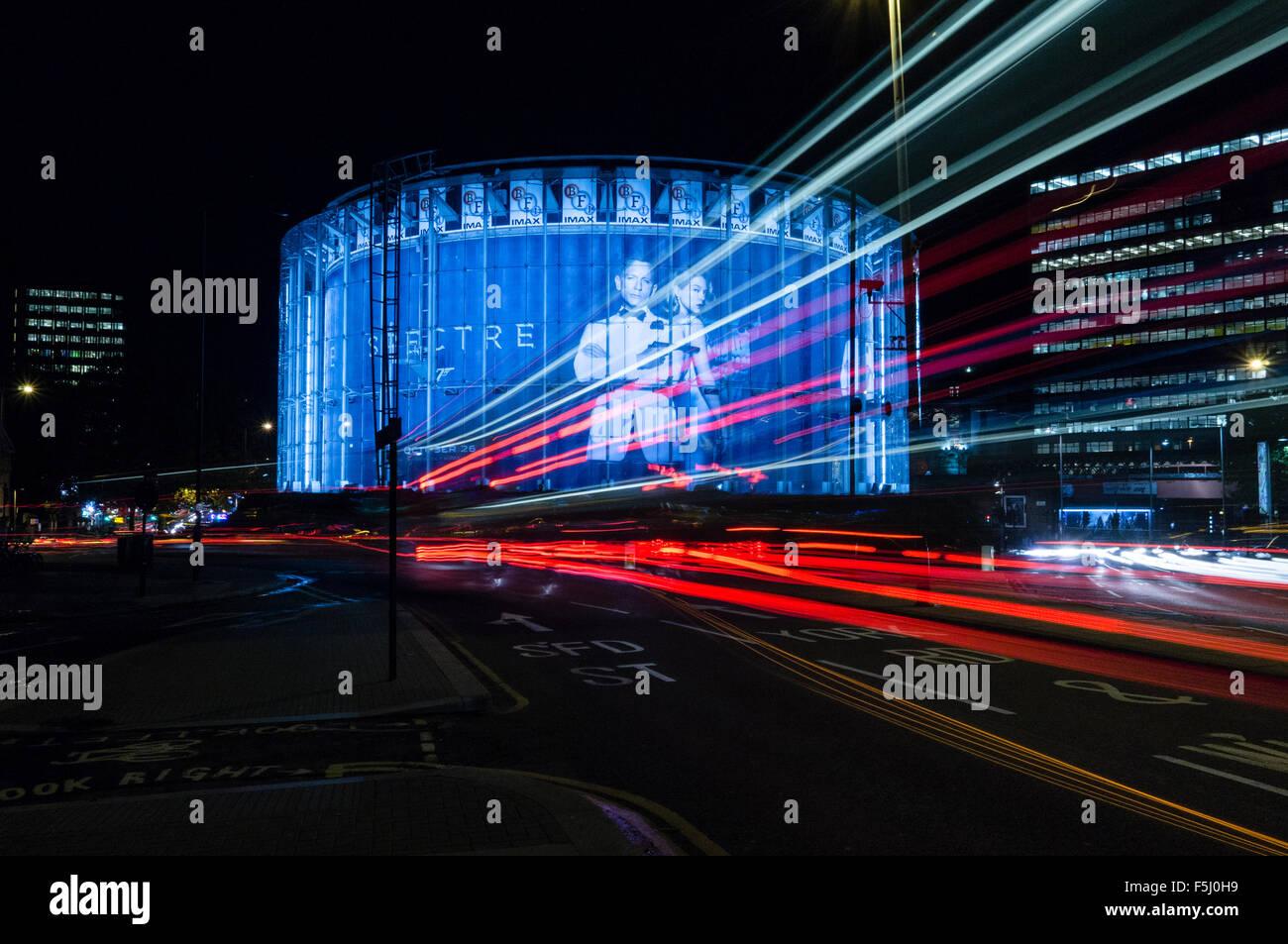 Light Trail, BFI IMAX cinema, Waterloo, London, UK - Stock Image