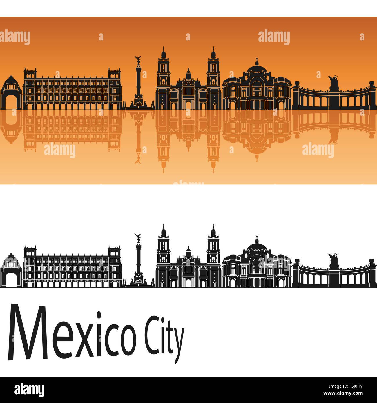 Mexico City V2 skyline in orange background in editable vector file - Stock Image