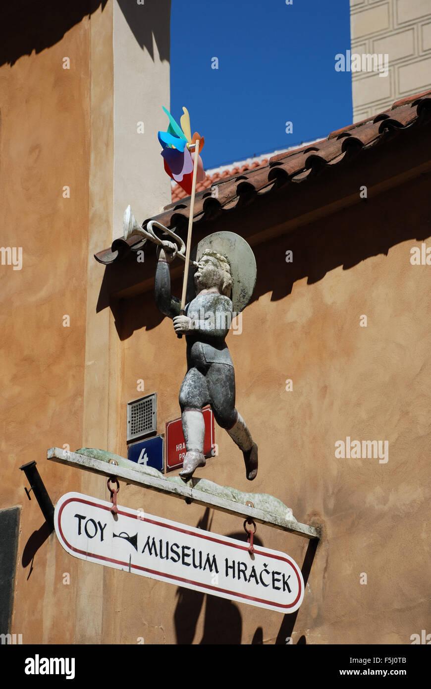 Toy museum entrance sign Prague Castle Czech Republic Stock Photo
