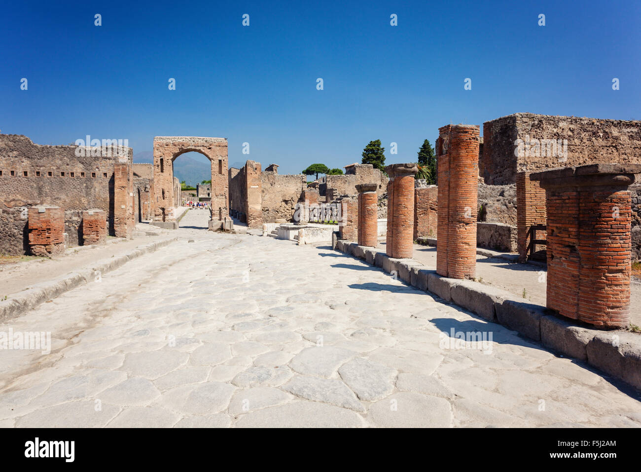 Arch of Drusus neirby forum of Pompei, Italy - Stock Image